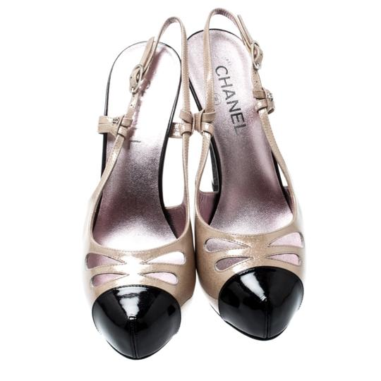 Chanel Patent Leather Textured Beige Sandals Image 2