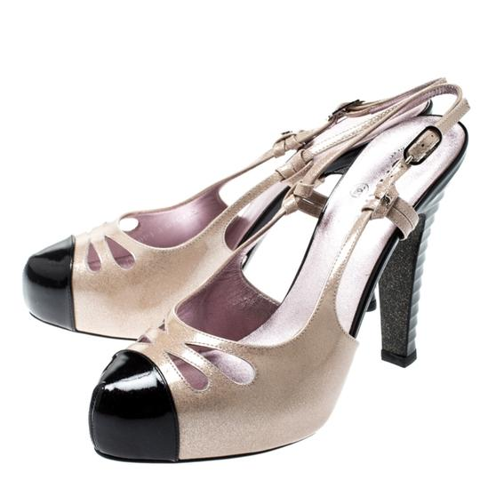 Chanel Patent Leather Textured Beige Sandals Image 4