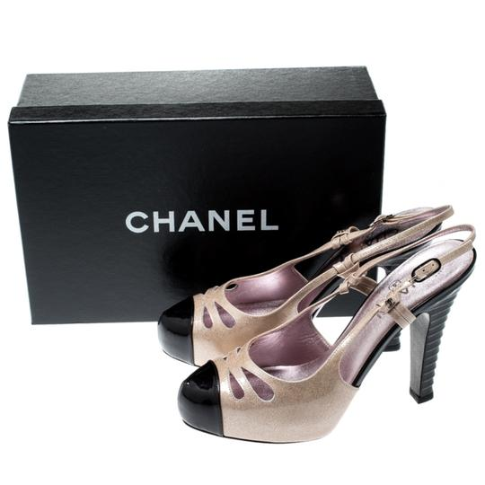 Chanel Patent Leather Textured Beige Sandals Image 7