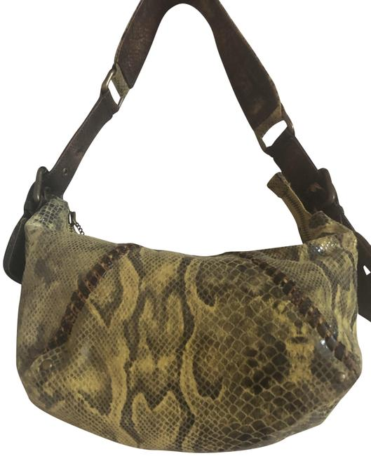 Item - Neutral Soft Yellow with Brown Snakeskin Leather Hobo Bag