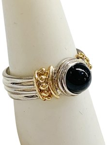 Other GORGEOUS!! Sterling Silver and 14 Karat Yellow Gold Black Onyx Ring