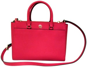 Tory Burch Robinson Double Zip Satchel Crossbody Tote in Red