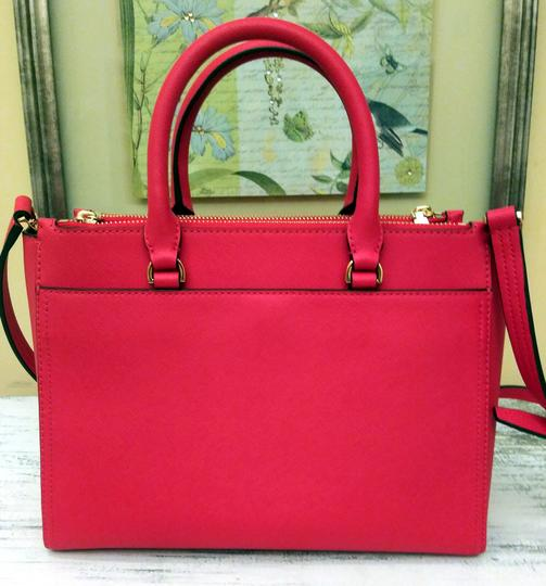Tory Burch Robinson Double Zip Satchel Crossbody Tote in Red Image 2