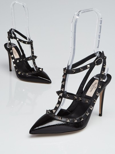 Valentino Rockstud Caged Ankle Strap Black Textured Patent Leather Pumps Image 3