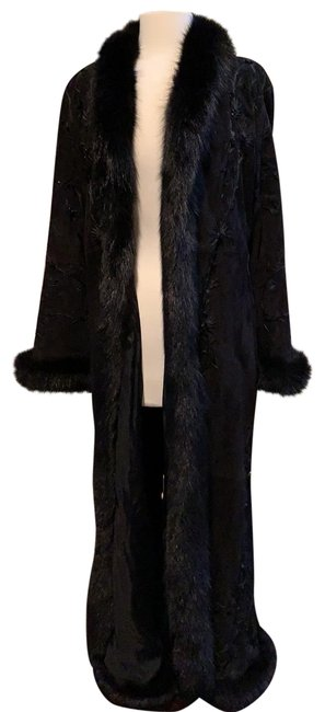 Item - Jet Black Long Beaded Sueded Shearling Coat Size 4 (S)