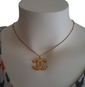 Chanel CHANEL Timeless CC Necklace Matte Gold Tone Byzantine