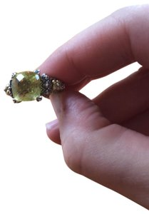 Barbara Bixby Sterling silver green quartz ring with 18k accents