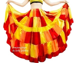 Handcrafted at Ameynra Maxi Skirt red orange yellow mix