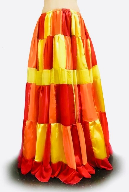 Handcrafted at Ameynra Maxi Skirt red orange yellow mix Image 1