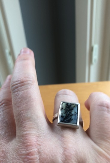 Fine Jewelry Vault sterling silver rectangular cut moss agate ring Image 2