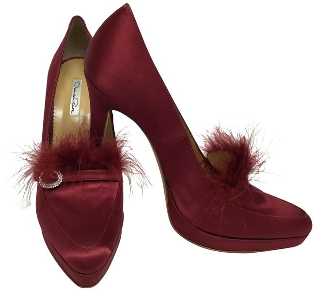 Item - Red Silk with Crystal Buckle and Feathers Pumps Size EU 41 (Approx. US 11) Regular (M, B)