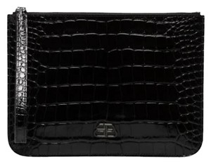 Balenciaga Leather Zippered Made In Italy Logo Patch Square Black Clutch