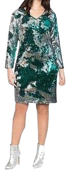 Item - Silver/Green Long Sleeve Sequin Sheath Short Cocktail Dress Size 14 (L)