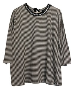 I.N. San Francisco Embellished Ribbon Stripes T Shirt black and white