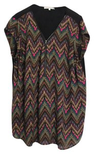 Daniel Rainn Zigzag Southwest Aztec Zipper Top multi