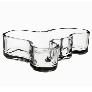 Clear Alvar Aalto Candy Glass Bowl Malja Finland Mid Century Modern Decoration