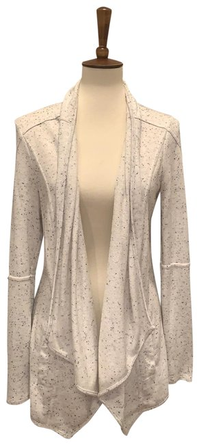 Item - White Gray Grey Heather and Cream Speckled Asymmetrical Cardigan Size 8 (M)