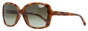 Valentino Valentino Blonde Havana Rectangular Scalopped Sunglasses