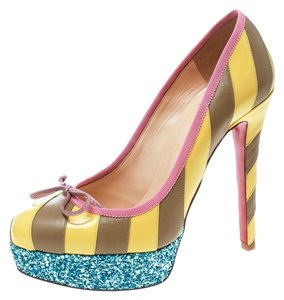 Christian Louboutin Orange Yellow Pink Red Graffiti So Kate 120 Printed Metrograf Patentleather Heels Pumps Size EU 39 (Approx. US 9) Regular (M, B)