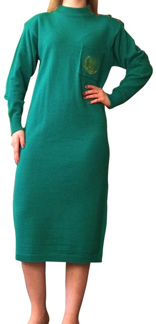 Item - Green Vintage Teal Sweater Midi Knit Ribbed Mid-length Casual Maxi Dress Size 6 (S)
