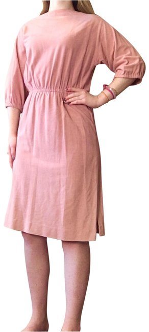 Item - Pink Light Suede Boatneck Sinched Mid-length Short Casual Dress Size 4 (S)