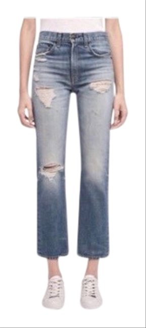 Item - Blue Distressed Ankle Straight High Rise W2512k165erv Capri/Cropped Jeans Size 8 (M, 29, 30)