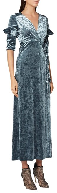 Item - Blue Teal Crushed Velvet Maxi Holiday Long Cocktail Dress Size 2 (XS)