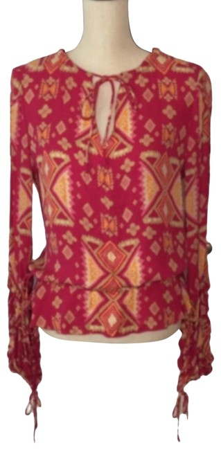 Item - Pink and Orange Orchid Silk Georgette Style 3207177 Blouse Size 8 (M)