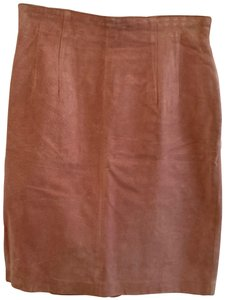 Evan Davies Suede Leather Date Night Night Out Skirt Pink