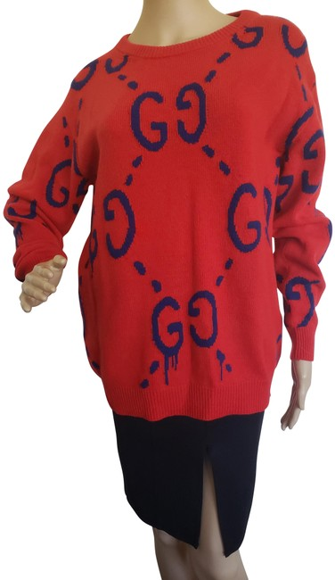 Item - Blue Gg Ghost Print Lightweight Wool Knit Red Sweater