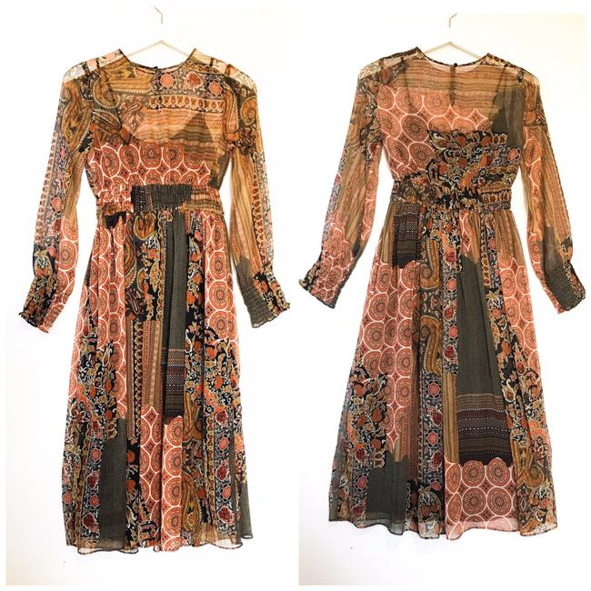 Item - Orange Brown Multi Patchwork Print Mid-length Casual Maxi Dress Size 2 (XS)