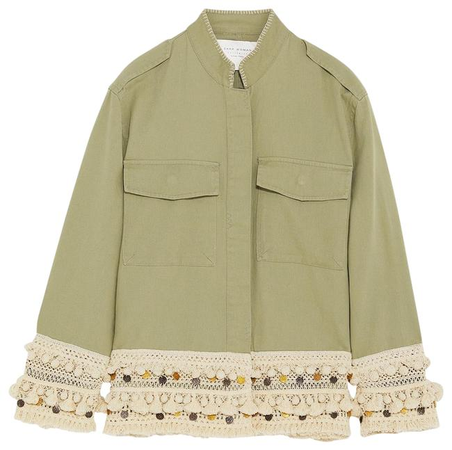 Item - Olive Green Army Green Cream Beige Tan Short Parka with Tassels M Jacket Size 8 (M)