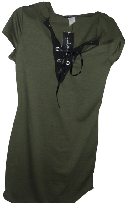 Item - Green Military Sporty Hooded Black Gothic Front Tie Stretch Knit Short Casual Dress Size 12 (L)