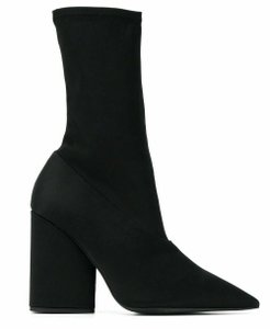 YEEZY Satin Pointed Toe Stretch Black Boots