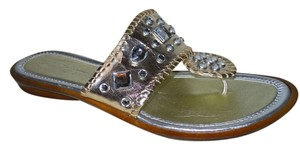 A. Giannetti Leather Mbc gold Sandals