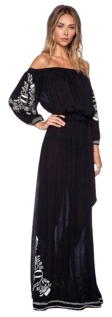 Item - Black White Vivianne Embroidered Off The Shoulder Casual Maxi Dress Size 0 (XS)