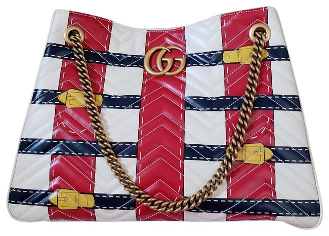 Item - Marmont L Matelasse Trompe L'oeil Print Medium Gg White Red Yellow Calfskin Leather Shoulder Bag