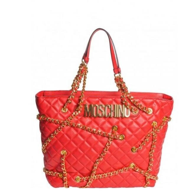 Item - 295 Couture Jeremy Scott Quilted & Chain Embellished Red Leather Shoulder Bag