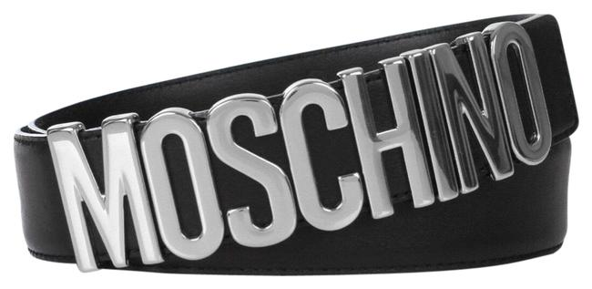 Item - Couture Jeremy Scott Black Leather with Silver Lettering Logo Large Belt