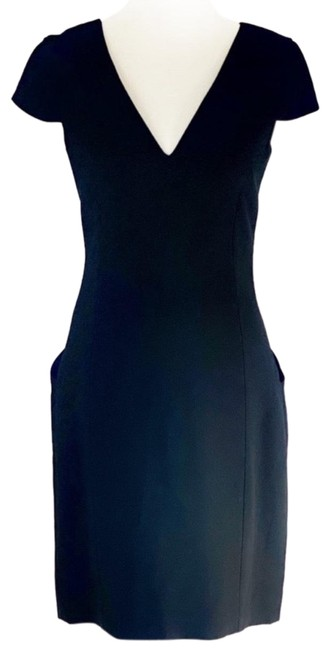 Item - Black with Tan Pockets Sheath Mid-length Cocktail Dress Size 4 (S)