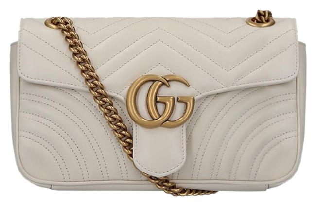 Item - Marmont Small Gg Matelasse White Leather Shoulder Bag