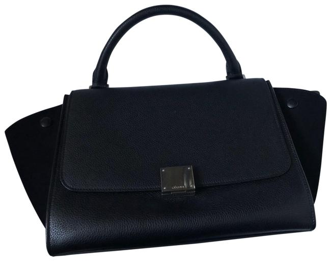 Item - Trapeze Small Black Calfskin and Suede Leather Satchel