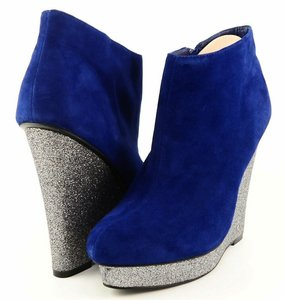 DV by Dolce Vita Designer Glitter Wedge Evening Blue Boots