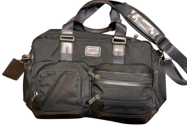 Item - With Leather Details Steel Grey and Brown Nylon Laptop Bag
