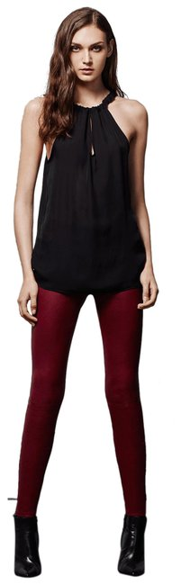Item - Dark Red/ Oxblood Mid-rise Stretch Leather In Pants Size 6 (S, 28)