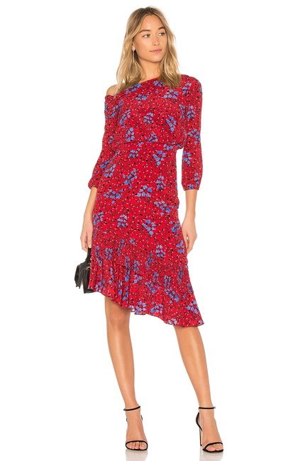 Item - Red Lexie Off-the-shoulder Floral-print Silk In Scarlett Posey Mid-length Cocktail Dress Size 6 (S)