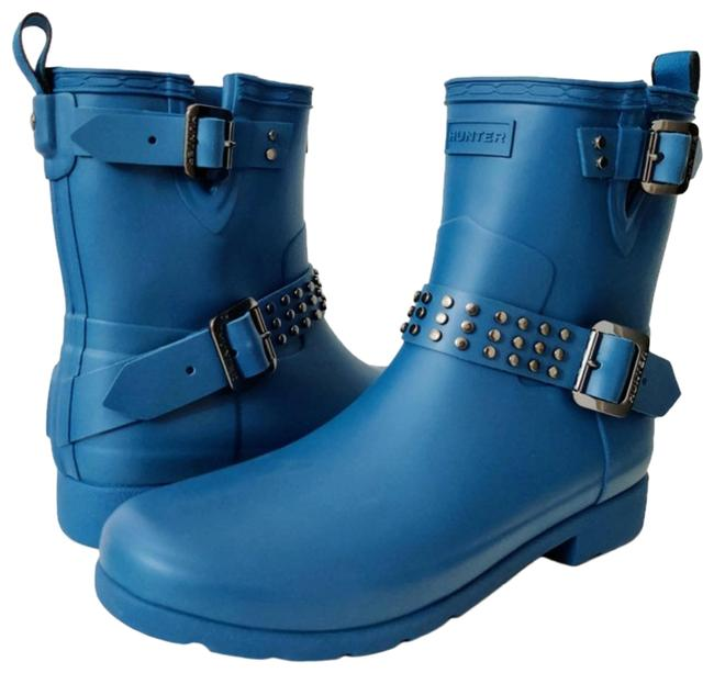 Item - Blue Refined Stud Waterproof Biker Boots/Booties Size US 8 Regular (M, B)