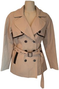 Barneys New York Leather Cotton Belted Spring Jacket Raincoat Trench Coat