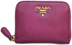 Prada PRADA Saffiano Leather Coin Card Purse Wallet Zip Fuchsia