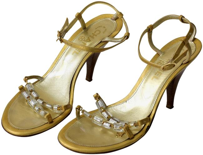 Item - Gold Strappy Cc Logo Crystal Jeweled Sandals Size EU 37.5 (Approx. US 7.5) Regular (M, B)